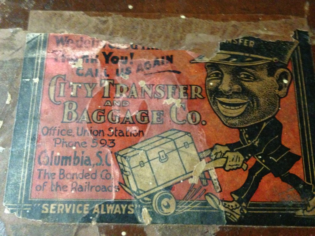 vintage City Transfer Baggage CO Black Americana Label On Old Trunk