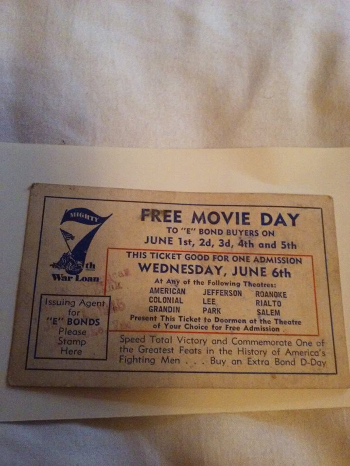 WWII War Loan Bonds Movie Day Pass Roanoke VA