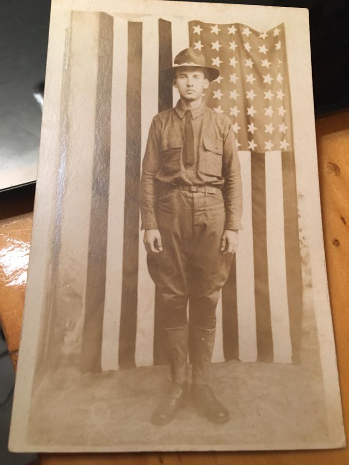 WW1 RPPC Postcard Soldier In Front Of 48 Star Flag