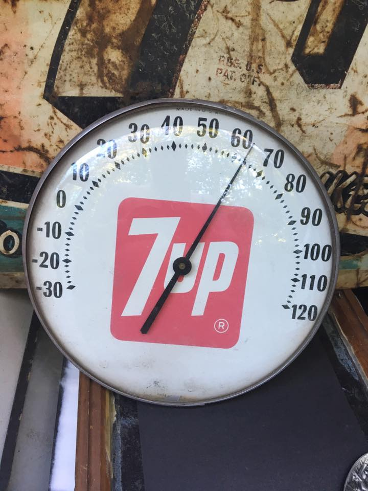 Vintage Round Glass Front 7 Up Thermometer