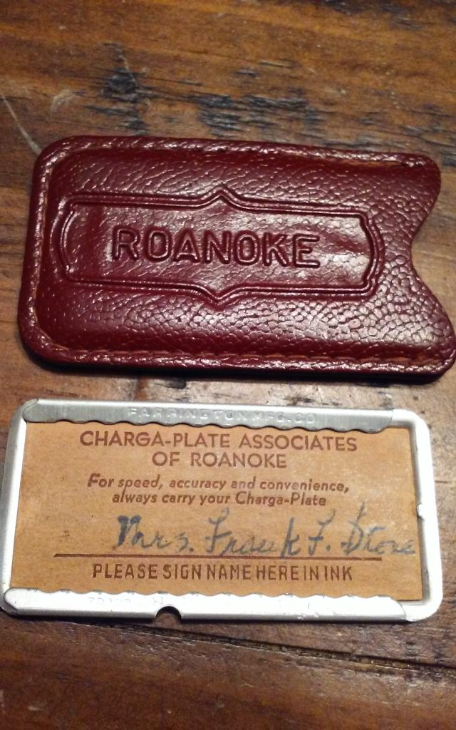 Roanoke VA Vintage Charga Plate Credit Card